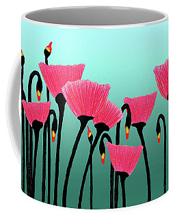 Expressive Red Pink Green Poppy Painting Y1a Coffee Mug