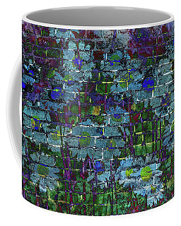 Extraordinary Blue Daisies Graffiti On A Brick Wall Coffee Mug