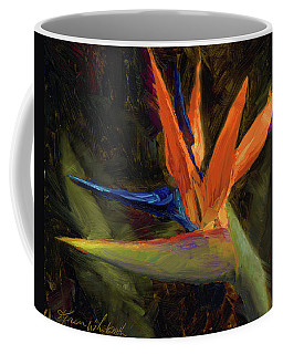 Coffee Mug featuring the painting Extravagance - Tropical Bird Of Paradise Flower by Karen Whitworth