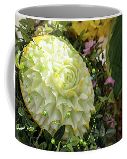 Extravagant Jeweled Dishes - Carved Melon Flower With Green Pearls Coffee Mug