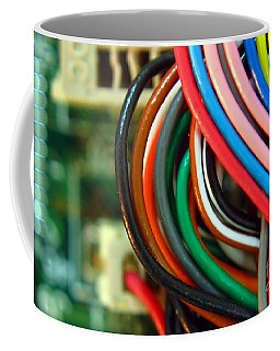 Extreme Closeup Of Motherboard And Cables Coffee Mug