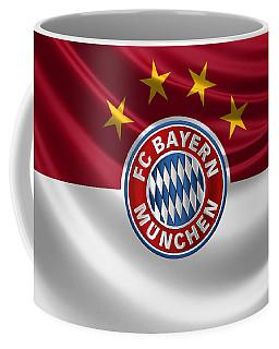 F C Bayern Munich - 3 D Badge Over Flag Coffee Mug by Serge Averbukh