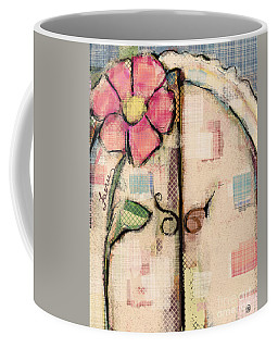 Coffee Mug featuring the mixed media Fabric Fairy Door by Carrie Joy Byrnes