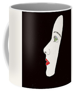 Coffee Mug featuring the drawing Face In Profile by W And F Kreations