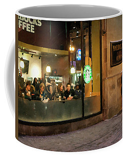 Coffee Mug featuring the digital art Faces At The Coffeehouse by Chris Flees
