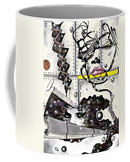 Coffee Mug featuring the digital art Faces In Space by Darren Cannell