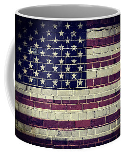 Faded America Flag On A Brick Wall Coffee Mug