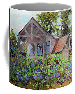 Coffee Mug featuring the painting Fainting Goat Vineyard Through The Vines by Jan Dappen