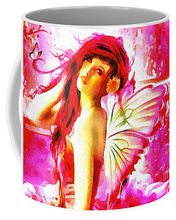Coffee Mug featuring the painting Fairy Angel In The Mix In Thick Paint by Catherine Lott