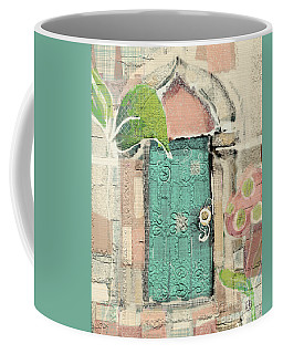 Coffee Mug featuring the mixed media Fairy Door by Carrie Joy Byrnes