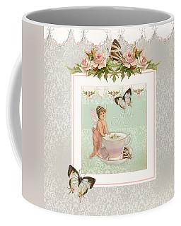 Fairy Teacups - Flutterbye Butterflies And English Rose Damask Coffee Mug