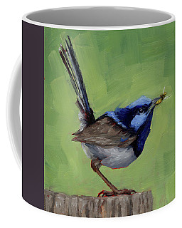 Coffee Mug featuring the painting Fairy Wren With Lunch  by Margaret Stockdale