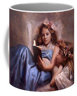 Coffee Mug featuring the painting Fairytales And Lace - Portrait Of Girls Reading A Book by Karen Whitworth