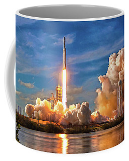 Coffee Mug featuring the photograph Falcon Heavy Rocket Launch Spacex by SpaceX