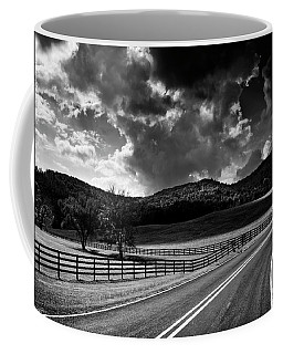 Fall Along Joe Brown Highway In Black And White Coffee Mug