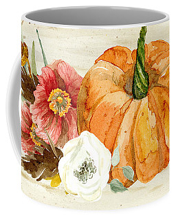 Coffee Mug featuring the painting Fall Autumn Harvest Wreath On Birch Bark Watercolor by Audrey Jeanne Roberts