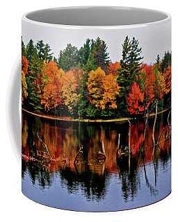 Coffee Mug featuring the photograph Fall Colors Reflection Panorama by George Bostian