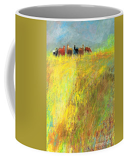 Coffee Mug featuring the painting Fall Day On The Mesa by Frances Marino