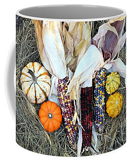 Coffee Mug featuring the photograph Fall Harvest On Hay by Sheila Brown