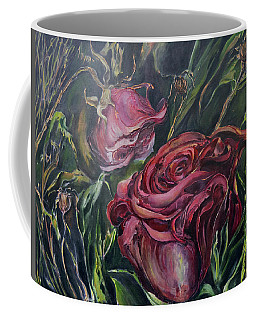 Coffee Mug featuring the painting Fall Roses by Nadine Dennis