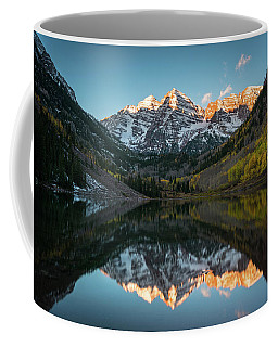 Coffee Mug featuring the photograph Fall Sunrise At Maroon Bells by James Udall