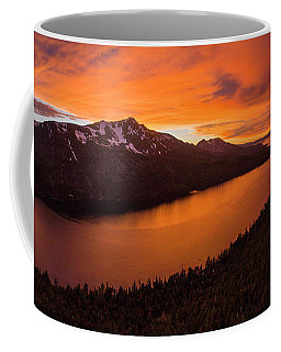 Fallen Leaf Lake Sunset Aerial By Brad Scott Coffee Mug