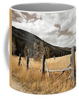 Fallowfield Weathered Fence Rocky Mountain National Park Dramatic Sky Coffee Mug by John Stephens