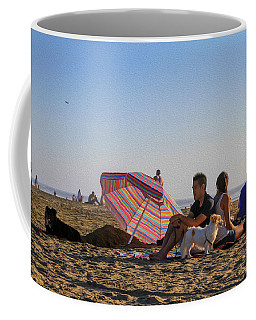Family At Ocean Beach With Dogs Coffee Mug