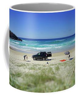 Family Day On Beach With 4wd Car  Coffee Mug