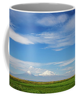 Famous Ararat Mountain Under Beautiful Clouds As Seen From Armenia Coffee Mug
