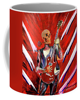Fantasy Heavy Metal Skull Guitarist Coffee Mug