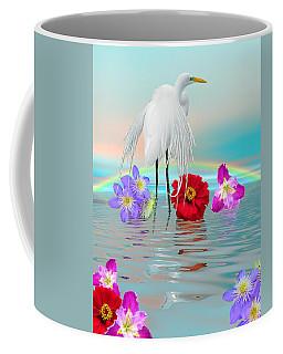 Fantasy Stork-flowers-rainbow On Ocean Coffee Mug