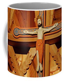 Coffee Mug featuring the photograph Fantoft Stavkirke Crucifix by KG Thienemann