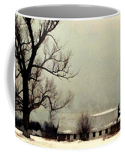 Coffee Mug featuring the photograph Far From Home - Winter Barn by Janine Riley