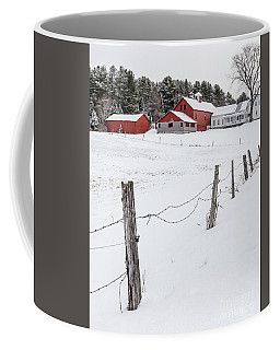 Farm Buildings In Winter Coffee Mug by Edward Fielding