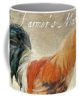 Coffee Mug featuring the painting Farm Fresh Barnyard Rooster Morning Sunflower Rustic by Audrey Jeanne Roberts