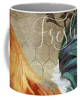 Coffee Mug featuring the painting Farm Fresh Daily Red Rooster Sunflower Farmhouse Chic by Audrey Jeanne Roberts