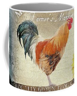 Coffee Mug featuring the painting Farm Fresh Damask Barnyard Rooster Sunflower Square by Audrey Jeanne Roberts