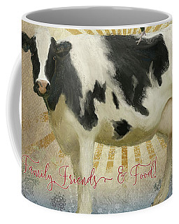 Coffee Mug featuring the painting Farm Fresh Damask Milk Cow Red Rooster Sunburst Family N Friends by Audrey Jeanne Roberts