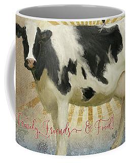 Farm Fresh Damask Milk Cow Red Rooster Sunburst Family N Friends Coffee Mug