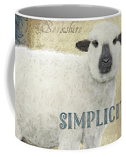 Coffee Mug featuring the painting Farm Fresh Damask Sheep Lamb Simplicity Square by Audrey Jeanne Roberts