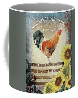 Farm Fresh Morning Rooster Sunflowers Farmhouse Country Chic Coffee Mug