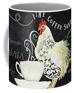 Coffee Mug featuring the painting Farm Fresh Rooster 5 - Coffee Served Chalkboard Cappuccino Cafe Latte  by Audrey Jeanne Roberts