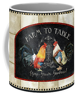 Coffee Mug featuring the painting Farm Fresh Roosters 2 - Farm To Table Chalkboard by Audrey Jeanne Roberts