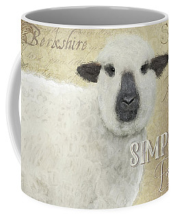 Coffee Mug featuring the painting Farm Fresh Sheep Lamb Wool Farmhouse Chic  by Audrey Jeanne Roberts