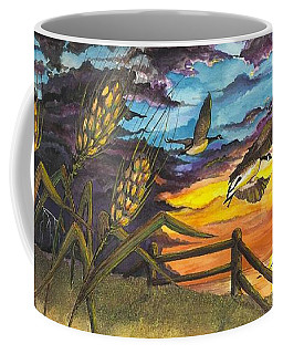Coffee Mug featuring the painting Farm Sunset by Darren Cannell