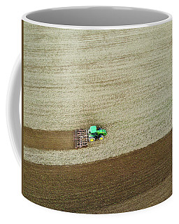 Farm Tractor Cutting Furrows In Field Aerial Image Coffee Mug