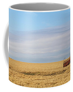 Farm Trailer In The Middle Of Field Coffee Mug