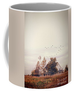 Coffee Mug featuring the photograph Farmhouse And Windmill by Jill Battaglia