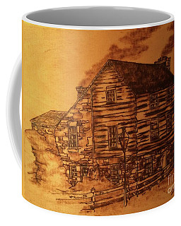 Coffee Mug featuring the pyrography Farmhouse by Denise Tomasura